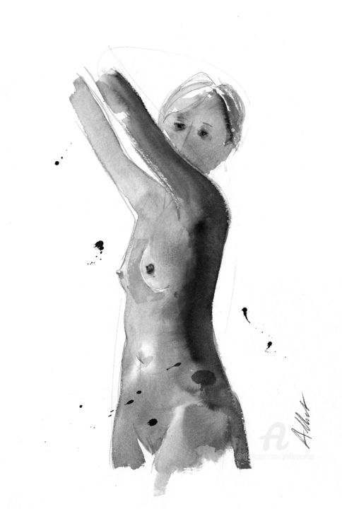 Nat, bras levés- ND 032 - Drawing,  15.8x11.8 in, ©2019 by Philippe ALLIET -                                                                                                                                                                                                                                                                                                                                                                                                                                                                                                                                                                                                                                      Figurative, figurative-594, Nude, Philippe Alliet, Alliet, Alliet Philippe, Nude, Naked woman, Nu féminin, Encre de Chine, China ink, Dessin, Drawing
