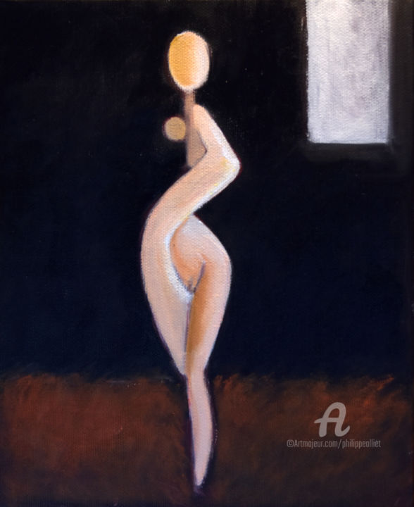 Nat 008 - Painting,  10.6x8.7 in, ©2019 by Philippe Alliet -                                                                                                                                                                                                                                                                                                                                                                                                                                                                                                                                              Figurative, figurative-594, Nude, Picasso, Philippe Alliet, Alliet, Alliet Philippe, Nude, Naked woman, Oil painting, peinture à l'huile