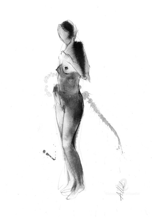 ND 0035 - Drawing,  15.8x11.8 in, ©2019 by Philippe ALLIET -                                                                                                                                                                                                                                                                                                                                                                                                                                                                                                                                                                                                                                                                                                                              Figurative, figurative-594, Nude, Philippe Alliet, Alliet, Alliet Philippe, PHILIPPE ALLIET, ALLIET, ALLIET PHILIPPE, Nude, Naked woman, China ink, Encre de Chine, Drawing, Dessin