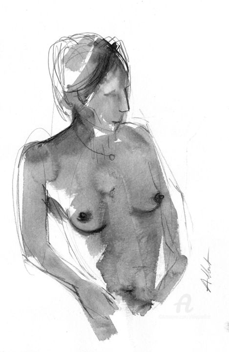 ND 0036 - Dessin,  15,8x11,8 in, ©2019 par Philippe ALLIET -                                                                                                                                                                                                                                                                                                                                                                                                                                                                                                                                                                                                                                                                                                                              Figurative, figurative-594, Nu, Philippe Alliet, Alliet, Alliet philippe, PHILIPPE ALLIET, ALLIET, ALLIET PHILIPPE, Nude, Naked woman, China ink, Encre de Chine, Drawing, Dessin