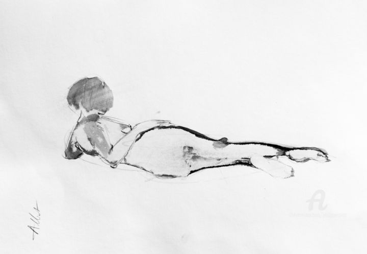 Nu informel 001 - Drawing,  11.8x15.8 in, ©2019 by Philippe ALLIET -                                                                                                                                                                                                                                                                                                                                                                                                                                                                                                                                              Figurative, figurative-594, Nude, Philippe Alliet, Alliet, Alliet Philippe, Nude, Encre de chine, China ink, Drawing, Dessin