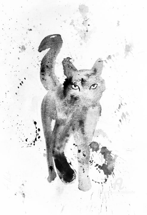 Chat dynamique 097 - Drawing,  15.8x11.8 in, ©2020 by Philippe Alliet -                                                                                                                                                                                                                                                                                                                                                                                                                                                                                                                                              Figurative, figurative-594, Cats, Philippe Alliet, Alliet Philippe, Alliet, PHILIPPE ALLIET, ALLIET PHILIPPE, ALLIET, China ink, Encre de Chine