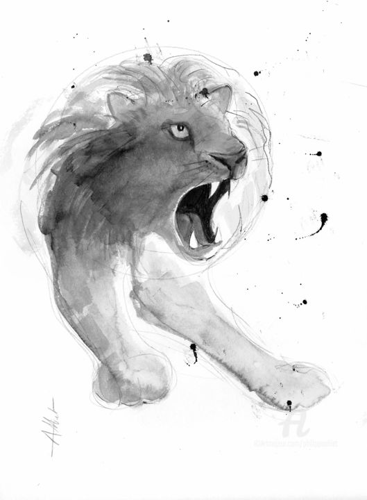 Lion 001 - Drawing,  15.8x11.8 in, ©2020 by Philippe Alliet -                                                                                                                                                                                                                                                                                                                                                                                                                                                                                                                                              Figurative, figurative-594, Animals, Lion, China ink, Encre de Chine, Drawing, Dessin, Philippe Alliet, Alliet, Alliet philippe