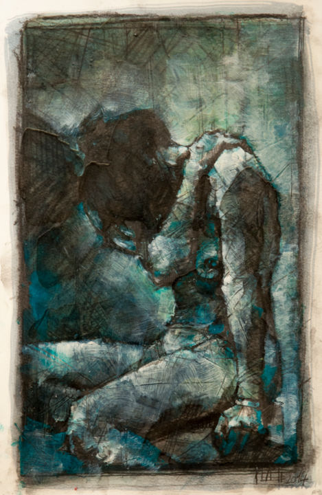 Etude - Painting,  37x24 cm ©2014 by Amirault -                                                                    Figurative Art, Expressionism, Contemporary painting, Wood, philippe Amirault, galerie médiart, art, artiste