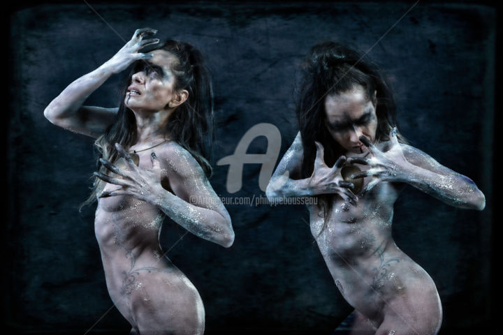 In Ténèbris - 3551 - Photography,  329x483 cm ©2019 by Philippe Bousseau -                                                                                                                                                Photorealism, Portraiture, Paper, Body, Fantasy, Women, Gothic, Nude, People, Erotic, philippe bousseau, In Ténébris, art graphique, photographie, femme, nu, women, nude