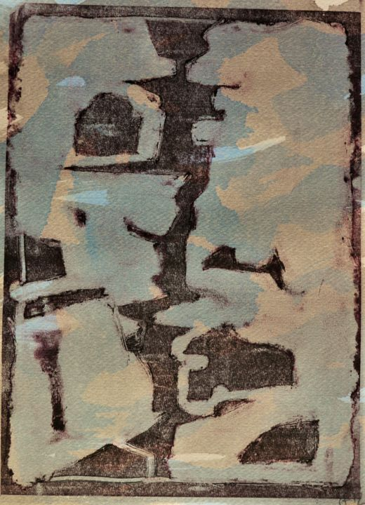 Confinement 15 - Printmaking,  12x9.1 in, ©2020 by Philippe Casaubon -                                                                                                                                                                                                                                                                                                                                                                                                                                                      Abstract, abstract-570, Abstract Art, composition, sensualisme, équilibre, aléatoire, trace, harmonie