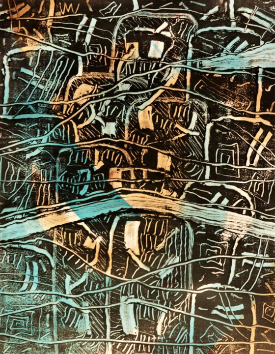Confinement 22 - Printmaking,  14x9.8 in, ©2020 by Philippe Casaubon -                                                                                                                                                                                                                                                                                                                                                                                                                                                                                                                                                                                          Abstract, abstract-570, Abstract Art, monotype, papier, encre taille douce, composition, harmonie, rythme, système, taches, désordre