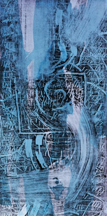 Confinement 23 - Printmaking,  15.4x7.9 in, ©2020 by Philippe Casaubon -                                                                                                                                                                                                                                                                                                                                                                                                                                                      Abstract, abstract-570, Abstract Art, estampe, monotype, encre taille douce, composition, équilibre, papier
