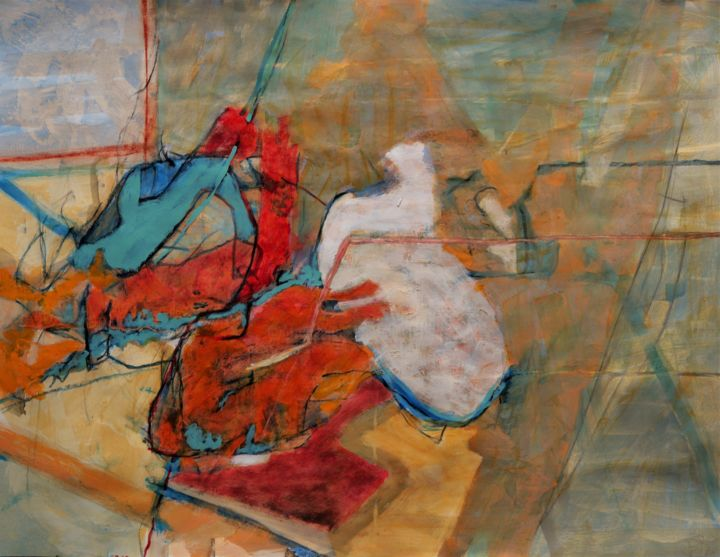 Pythien - Painting,  19.7x25.6 in, ©2020 by Philippe Casaubon -                                                                                                                                                                                                                                                                                                                                                                                                                                                                                                                                              Abstract, abstract-570, Abstract Art, incertitude, ordre, désordre, chaos, aléatoire, composition, caparol, trace