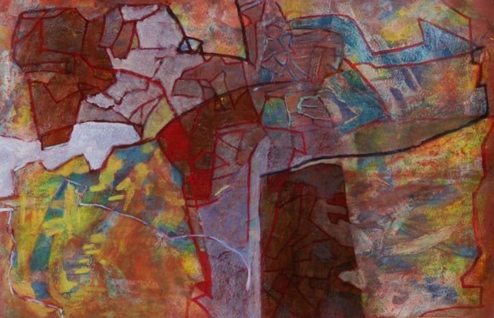Eschyle - Painting,  13x19.7 in, ©2013 by Philippe Casaubon -                                                                                                                                                                                                                                                                                                              Abstract, abstract-570, équilibre, composition, harmonie, caparol