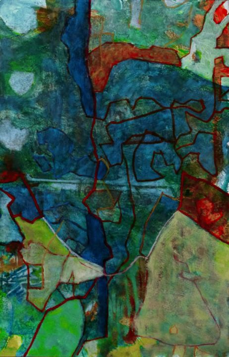 Favonius - Painting,  19.7x13 in, ©2014 by Philippe Casaubon -                                                                                                                                                                                                                          Abstract, abstract-570, Abstract Art, caparol