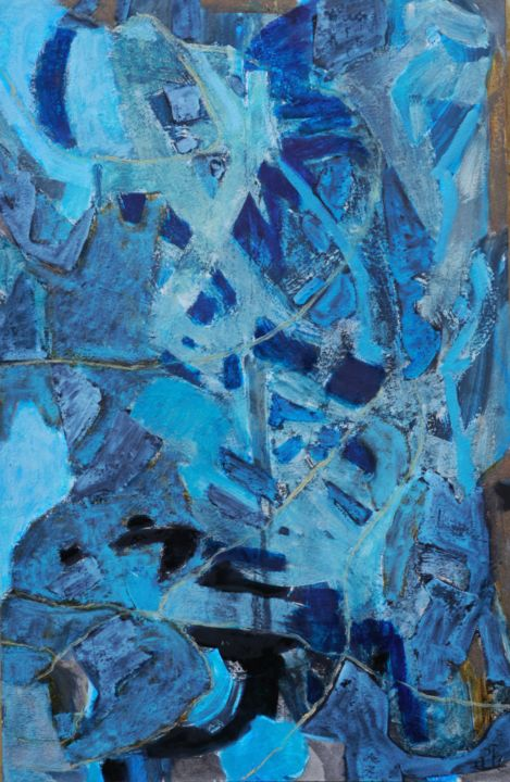 Japet - Painting,  19.7x13 in, ©2016 by Philippe Casaubon -                                                                                                                                                                                                                                                                                                                                                                                                                                                                                                                                                                                          Abstract, abstract-570, Abstract Art, bleu, composition, harmonie, rythme, abstrait, abstraction, impression, caparol, construction