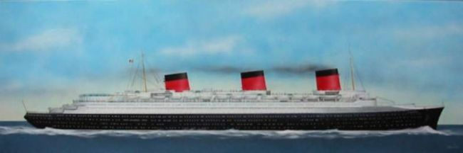 "Liner ""Normandie"" - Painting,  240x80 cm ©2006 by PHC -"
