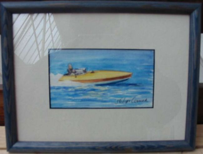 Small Speedboat - Painting,  13x9 cm ©2010 by PHC -