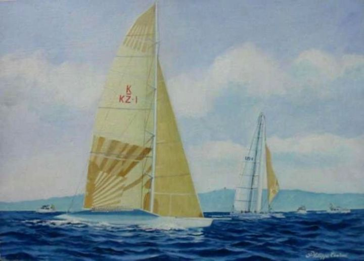 US1vs KZ  (expo San Diego America Cup) - Painting,  40x60 cm ©2005 by Philippe Conrad -                        Canvas