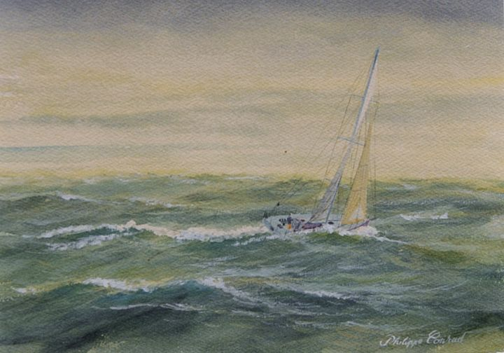Dans les cinquantièmes rugissants(in the roaring fifties)Expo Vendee Globe - Painting,  146x89 cm ©2005 by Philippe Conrad -                        Canvas