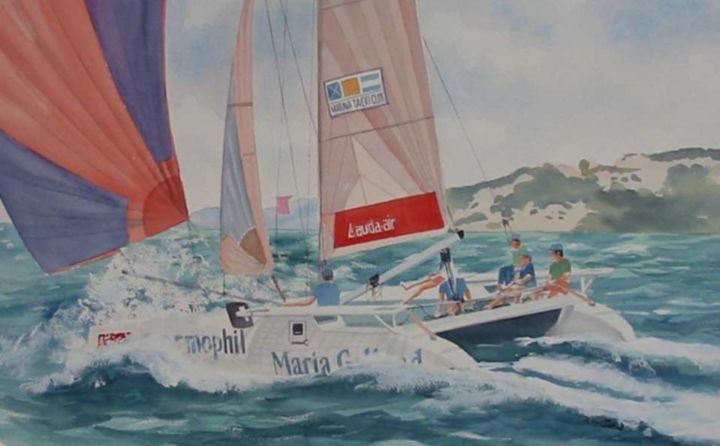 Catamaran - Painting,  65x50 cm ©2004 by Philippe Conrad -