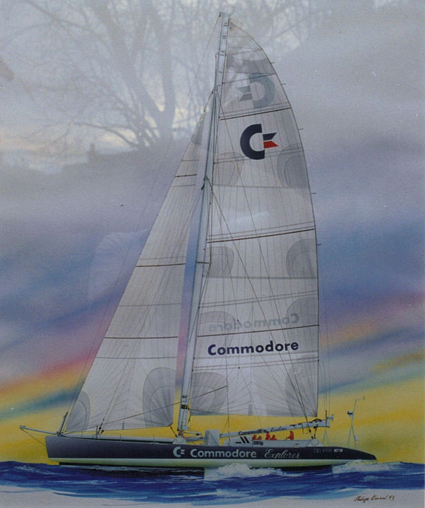 Commodore Explorer -1er TDM Bruno Peyron-(first race around the world by Bruno Peyron) - Painting,  65x50 cm ©2009 by Philippe Conrad -