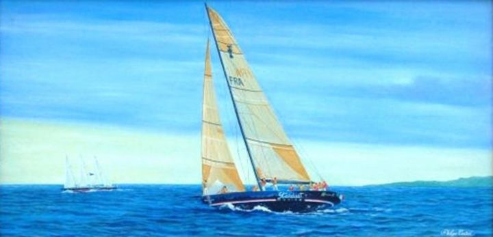 France 2-France3,à l'entrainement n°2 (France2-France3 training n°2) America's Cup - Painting,  60x30 cm ©2005 by Philippe Conrad -