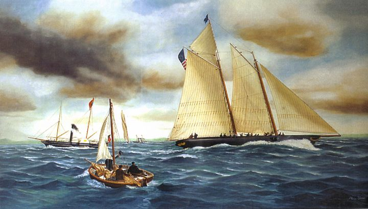 Schooner America Queen's Cup Isle of Wight (Expo San Diego-America's Cup) - Painting,  114x95 cm ©2005 by Philippe Conrad -