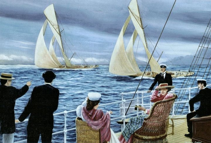 viewing-an-america-cup-race-aboard-a-yacht-70x90-oil.jpg - Painting,  70x90 cm ©2009 by Philippe Conrad -