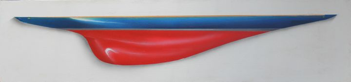 Endeavour I - Painting,  24x69 cm ©2015 by Philippe Conrad -                            Figurative Art, peintures, marines
