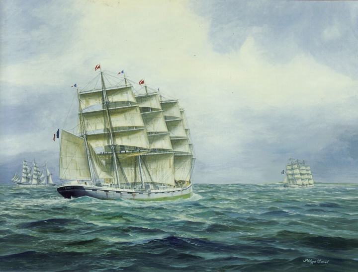5-mâts France II.5masted sailing ship France II - Painting,  65x92 cm ©2009 by Philippe Conrad -                                                        Figurative Art, Canvas, Sailboat