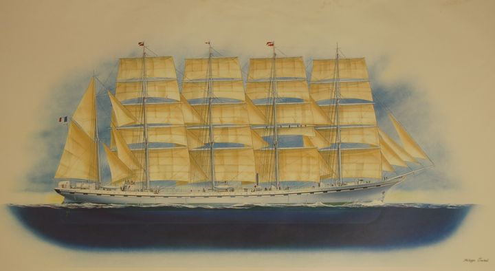 France II.5 masted sailing ship France II.jpg - © 2009 art, peinture, décoration, marine art, voiliers, grands voiliers Online Artworks