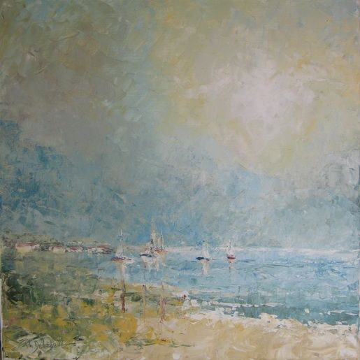 Bord du bassin d'Arcachon - Painting,  19.7x19.7 in, ©2009 by Philippe Delaballe -