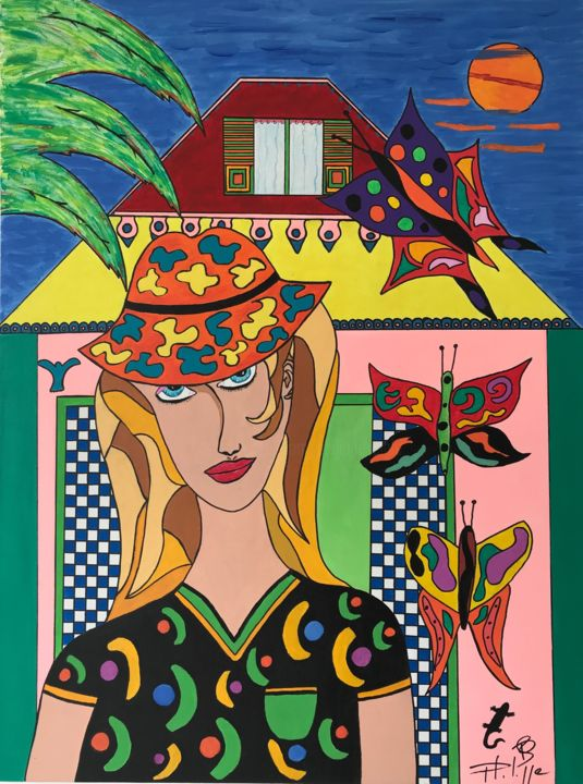 Miss Mariposa - Painting,  31.5x23.6x1.2 in, ©2019 by Philippe Seigle -                                                                                                                                                                          Pop Art, pop-art-615, Colors