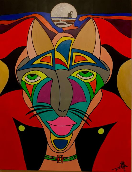 Cats - Painting,  35.4x27.6x1.2 in, ©2019 by Philippe Seigle -                                                                                                                                                                          Naive Art, naive-art-948, Animals