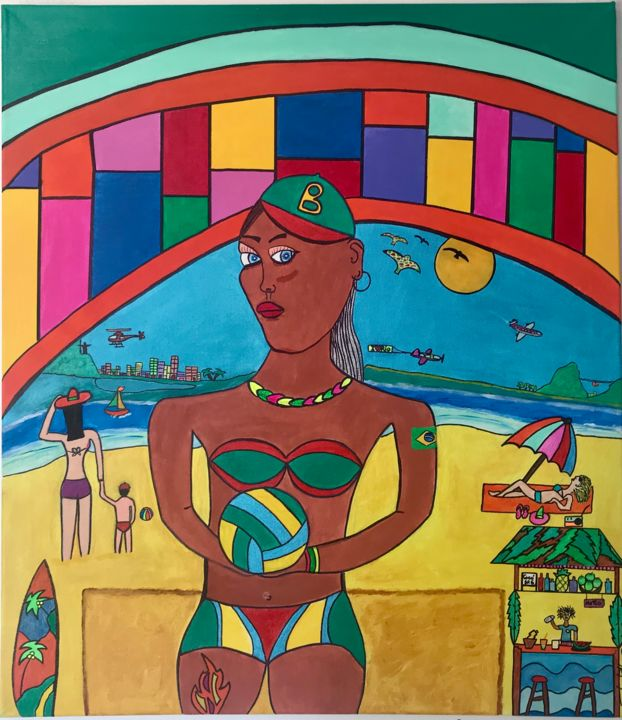 Copa beach - Painting,  31.5x27.6x1.2 in, ©2020 by Philippe Seigle -                                                                                                                                                                          Naive Art, naive-art-948, World Culture