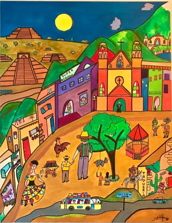 El Pueblo - Painting,  35.4x27.6x1.2 in, ©2020 by Philippe Seigle -                                                                                                                                                                          Naive Art, naive-art-948, World Culture