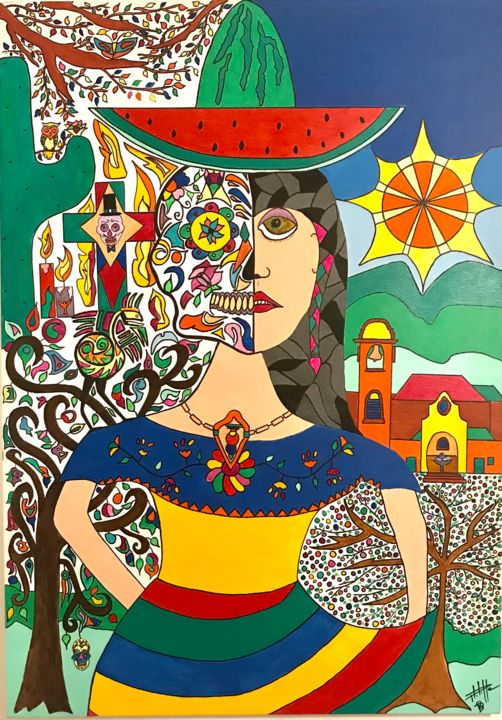 Vidas - Painting,  39.4x27.6x1.2 in, ©2020 by Philippe Seigle -                                                                                                                                                                          Naive Art, naive-art-948, World Culture