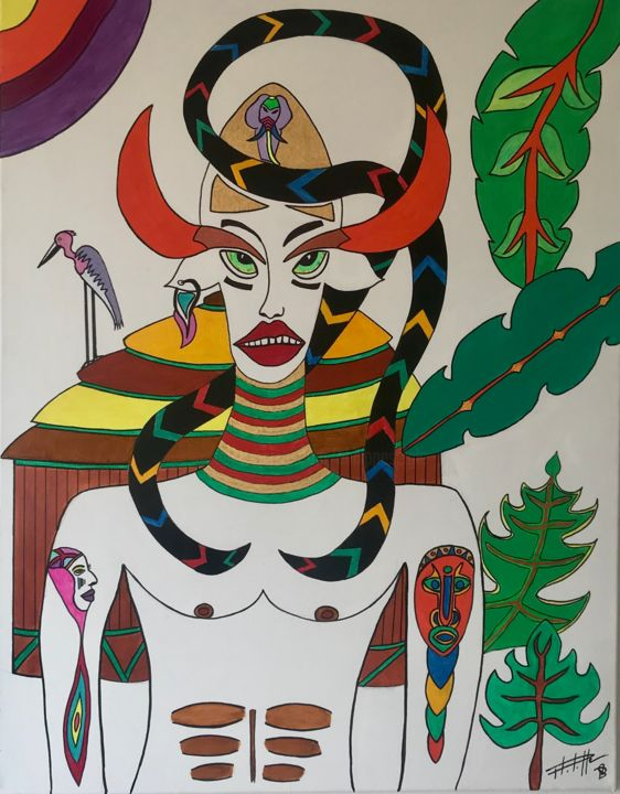 King Kodjo - Painting,  35.4x27.6x1.2 in, ©2020 by Philippe Seigle -                                                                                                                                                                          Naive Art, naive-art-948, World Culture