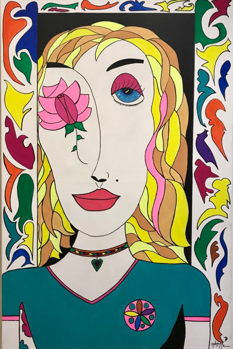 Rosita - Painting,  27.6x19.7x1.2 in, ©2020 by Philippe Seigle -                                                                                                                                                                          Naive Art, naive-art-948, Portraits