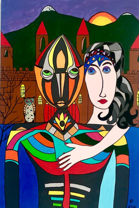 Mon Chevalier - Painting,  35.4x23.6x1.2 in, ©2020 by Philippe Seigle -                                                                                                                                                                          Naive Art, naive-art-948, Love / Romance