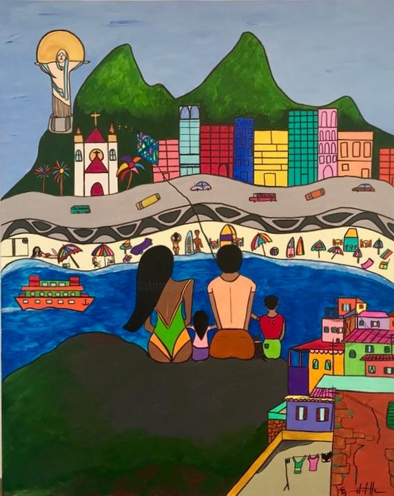 Bela vista - Painting,  39.4x31.5x1.2 in, ©2020 by Philippe Seigle -                                                                                                                                                                                                                      Naive Art, naive-art-948, Seascape, Travel