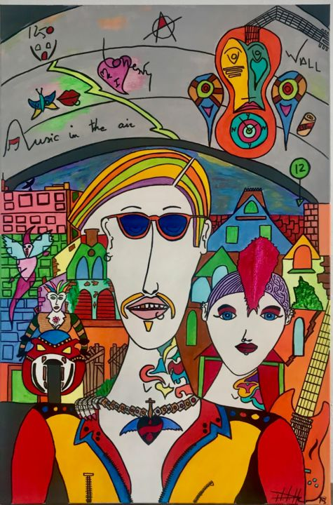 Punkilove - Painting,  35.4x23.6x1.2 in, ©2020 by Philippe Seigle -                                                                                                                                                                                                                                                                  Naive Art, naive-art-948, Love / Romance, Colors, Portraits