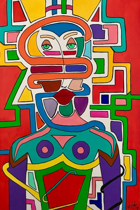 Captive - Painting,  47.2x31.5x1.2 in, ©2020 by Philippe Seigle -                                                                                                                                                                                                                      Naive Art, naive-art-948, Fantasy, People