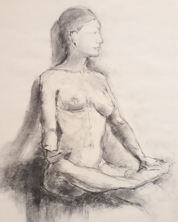 """Drawing titled """"Yoga"""" by Philms, Original Art, Charcoal"""