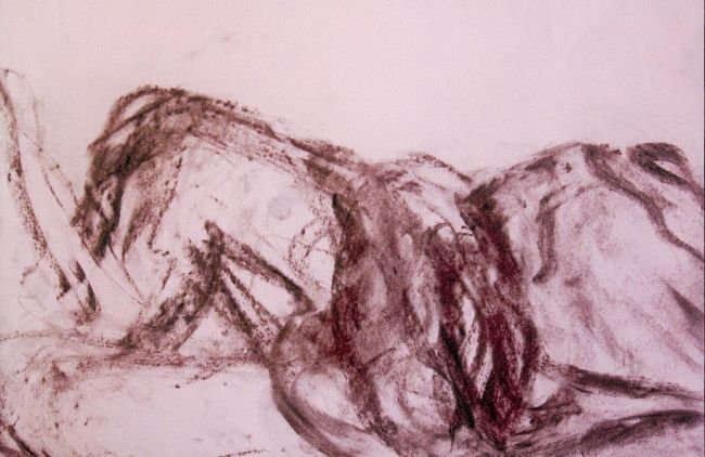 Corpus 13 - Drawing,  11.8x15.8 in, ©2009 by Photini Marakakis -                                                              Live model