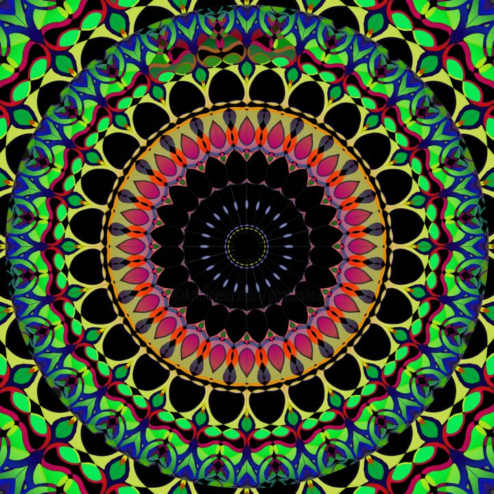 Phantom Heart Mandala - © 2019 Mandala, Meditation, Art, Design, Digital, Computer, Abstract, Abstraction, Abstractionist, Abstractionism, Creative, Meditative, Vision, Seeing Online Artworks