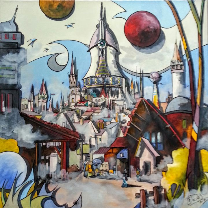 la planete rouge - Painting,  19.7x19.7 in, ©2017 by Philippe sidot et Charlotte Carsin -                                                                                                          village imaginaire, carre
