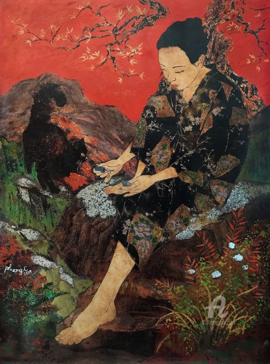 """Painting titled """"Nail time"""" by Phuong.C Nguyen, Original Art, Lacquer"""
