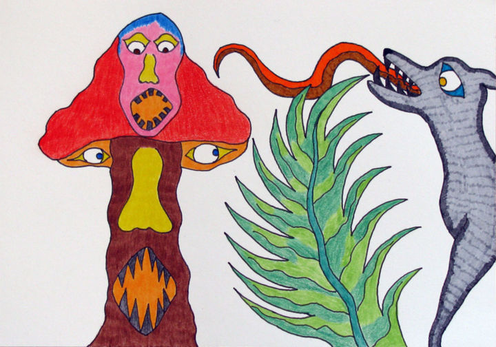 """""""Loufoque !"""" - Drawing,  5.7x8.1 in ©2011 by PHILIPPE WITTNER -                        Outsider Art"""
