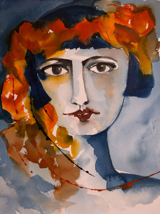 Carmen-02 - Painting,  11.8x8.7 in, ©2019 by Véronique Piaser-Moyen -                                                                                                                                                                                                                                                                                                                                                                                                                                  Portraits, piaser, piaser-moyen, veronique moyen, veronique piaser-moyen, portrait, aquarelle, femme, carmen