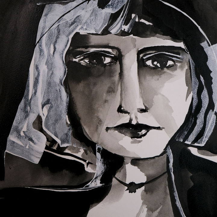 Barcelone - Painting,  7.9x7.9 in, ©2019 by Véronique Piaser-Moyen -                                                                                                                                                                                                                                                                                                                                                                                                                                                      Figurative, figurative-594, Portraits, piaser, piaser-moyen, veronique piaser-moyen, encre, portrait, barcelone