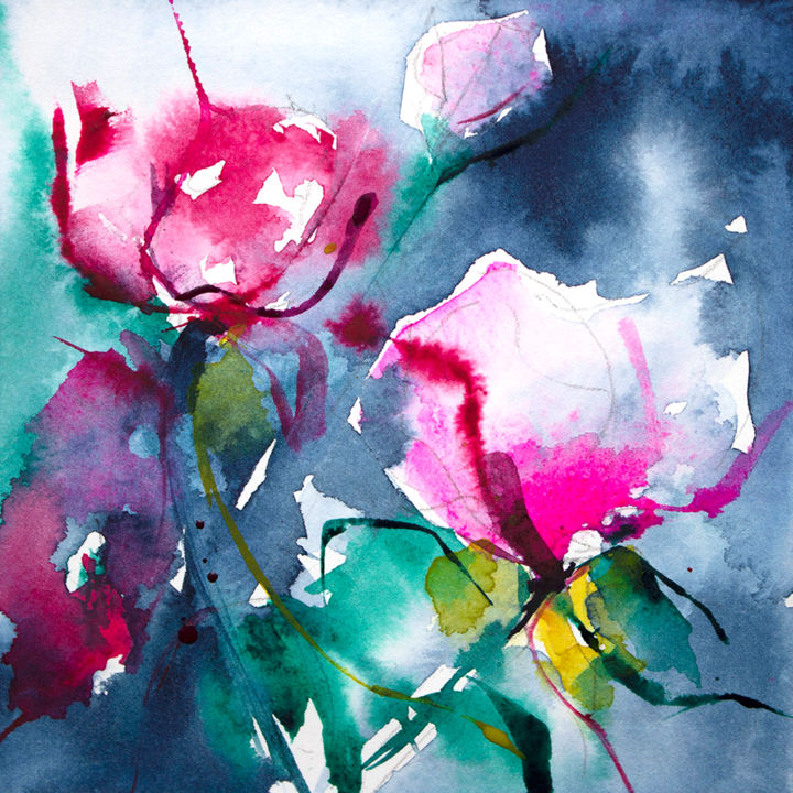 Petit instant N° 249 - Painting,  5.9x5.9 in, ©2014 by Véronique Piaser-Moyen -                                                                                                                                                                                                                                                                                                                                                                                                                                  Flower, aquarelle, watercolor, piaser, piaser-moyen, fleurs, fleur, flower, flowers
