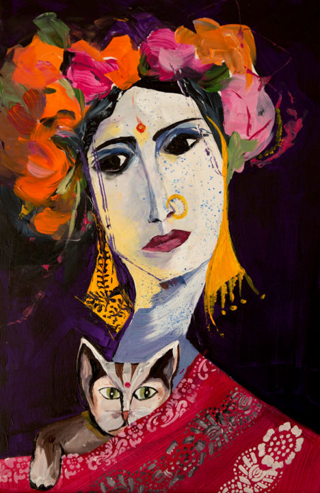 Le chat de la marchande de fleurs - Painting,  47x21 cm ©2016 by Véronique Piaser-Moyen -                                                            Contemporary painting, Canvas, Portraits, piaser, piaser-moyen, veronique piaser-moyen, inde, femme, portrait, chat, fleurs